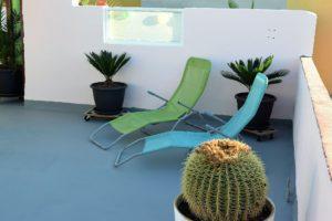 Ferienwohnung El Médano am Strand - La Caleta - Liegestühle auf dem Dach